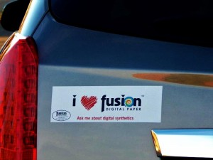 From wall graphics to signage to bumper stickers, Fusion Woven Fabric Repositionable is the only product you need to stock for both indoor and outdoor applications.